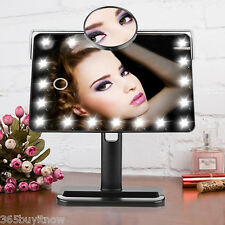 10X Magnification Cosmetic Stand Makeup Mirror 20 LEDs Lighted Adjustable Vanity