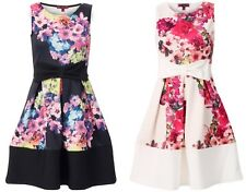 NEW WOMENS LADIES FLORAL PRINT BOW SKATER DRESS CONTRAST PANEL FOR SUMMER SPRING