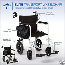 Elite Aluminum Transport Wheelchair by Medline - Graphite or White