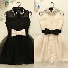 Sexy Ladies Lapel Skater Dress Bow Belt Skirt Party Pearl Sleeveless Gauze Dress