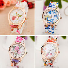Women Girl Silicone Countryside Flower Causal Analog Quartz Sport Wrist Watches