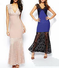 Lipsy Bandage Maxi Blue or Nude Dress with Lace Detail 10 12 new