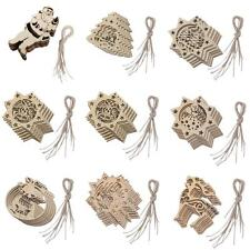 10 Wooden Shapes Reindeer/Santa Angle Christmas Tree Ornaments Wood Hanging Tags