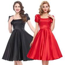 Formal Hosewife Black Red Short Swing Puff Sleeve Retro Vintage Party Dress Sexy