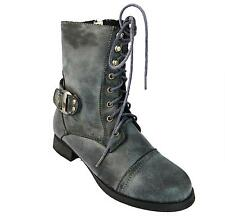 Rsb Wicked Girl's Grey Zip Up Side Lace Up Military Style Combat Ankle Boots New