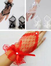 Short Wrist Bow Bridal Wedding Gloves Dress Evening Sexy Lace Fingerless Party