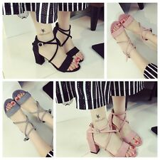 Graceful Women's Chunky Rough Heels Shoes Cross Bandage Peep Open Toe Sandals