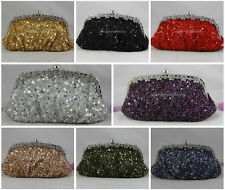 Sparkle Beaded Sequined Crystal/Diamante Frame Big Evening Clutch & Other Colors