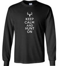 Keep Calm And Hunt On Long Sleeve T-Shirt Deer Hunter Hunting Mens Tee