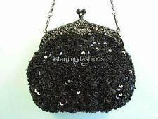 Designer Frame Black Beaded Sequined Evening Purse Lots Colors Available