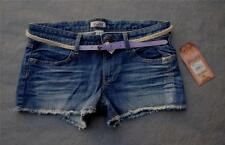 NWT $32 Mudd Frayed Stretch Denim Cut-Off Shorts wit Stylish Skinny Belt 0 1 3 5