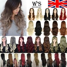 UK Free Shipping Long Layered Wig Cosplay Full Wigs Top Quality Synthetic Black