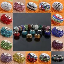 Wholesale Crystal Rhinestone Resin European EP Beads Finding Fit Charms Bracelet