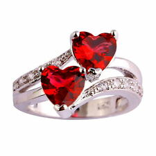 Fashion Women Ruby Spinel White Topaz Gemstone Silver Plated Ring Jewelry