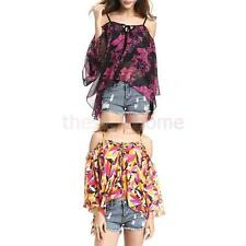 Women's Sexy Off Shoulder Floral Summer Blouse Lady Casual Top Loose T Shirt