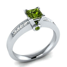 0.63 ct Green Peridot & White Sapphire Solid Gold Wedding Engagement Ring