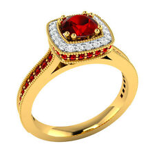 0.90 ct Red Ruby & White Sapphire Solid Gold Wedding Engagement Ring