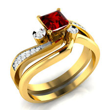 0.65 ct Ruby & White Sapphire Solid Gold Wedding Engagement Bridal Ring Set