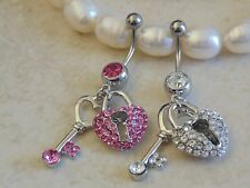 Key and Heart Lock Paved Dangle Navel/Belly Ring.