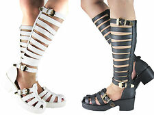 NEW LADIES WOMEN GIRLS MIDCALF STRAPPY BLOCK HEEL GLADIATOR SHOE SIZE 3 - 8