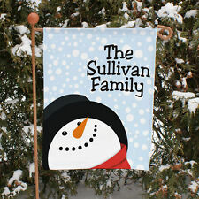 Let it Snow Snowman Christmas Personalized Garden Flag Yard Banner Decoration