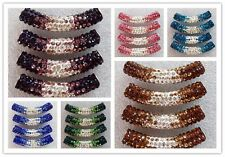 3Pcs Curved Tube Crystal Rhinestone Pave Bracelet Connector Beads U258