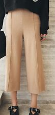 Wool Blend Beige Winter Thick Wide Leg Pants Culottes