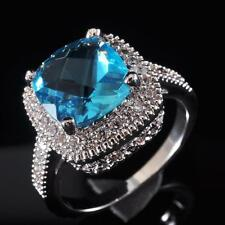 Stunning Lover Gift Fashion Jewelry Blue Topaz S80 Silver Gemstone Ring size 6~9
