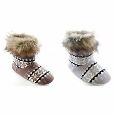 Womens/Ladies Knit Patterned Boot Slippers With Faux Fur Trim
