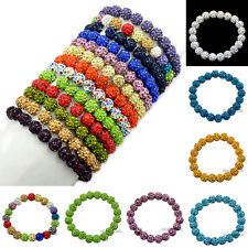 10mm Czech Crystal Rhinestones Pave Clay Round Disco Stretchy Bracelet 20Beads