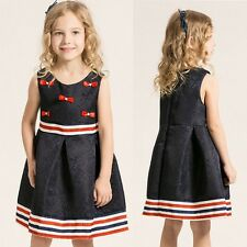 Summer Kids Girls Floral Bowknot Dress Princess Party Wedding Dress Sleeveless