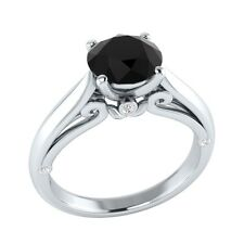 1.05 ct Black Spinel & White Sapphire Solid Gold Wedding Engagement Ring