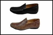 New Masimo Snake Print Men's Fashion Black and Brown Casual Driver Shoes 4001