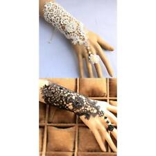 Wedding Bridal Embroidered Lace Wrist Cuffs Fingerless Glove Bracelet with Ring