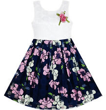 Girls Dress Sequin Lace Plaid Checkered Tulle Flower Print Size 4-10