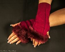 Fluffy Faux Rabbit Fur Fingerless Gloves Crochet, 3 colors to choose from