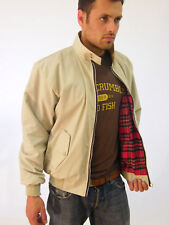 New Mens Harrington Jacket Classic Bomber Coat Cream Beige XS S M L XL XXL