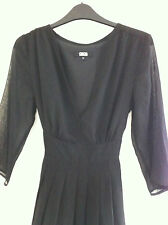 10 ASOS Black Floaty Chiffon Dress 3/4 Dleeves, Super Stylish LBD Office or Out!