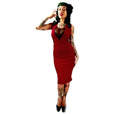 Switchblade Stiletto Red Gingham Vamp Dress Rockabilly Psychobilly Pin Up