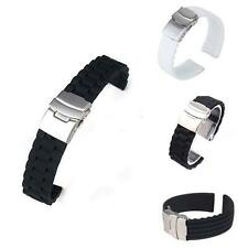 Waterproof Silicone Rubber Strap Sport Wrist Watch Band Deployment Clasp US