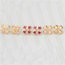 Lovely Heart 18K Yellow Gold Filled Swarovski Crystal Girls Clover Stud Earring