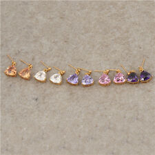Vintage 18K Yellow Gold Filled Colorful CZ womens Triangle big stud earing