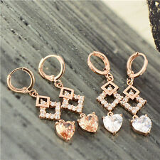 Charming 18K Rose Gold Filled Swarovski Crystal Womens Heart Dangle earing