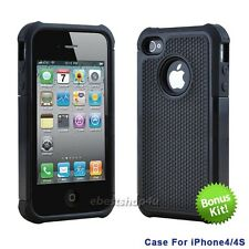 New Silicone Gel Rubber Combo Hard Soft 2 Piece Cover Case Skins For iPhone 4 4S