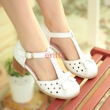 Women Mary Janes Cuban Heel Sweet Bow Hollow Out T-Strap Shoes Plus Size N10-7