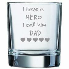 Personalised Engraved Whisky Glass Tumbler Hero Gift Dad Grandad, Uncle, Brother