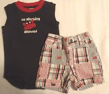 Gymboree Boys Size 0-3 Month Crab Shack Bodysuit Embroidered Short Outfit NWT