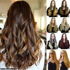 Long Straight Curly Wavy Ombre Hair Wig 3/4 Full Wigs Half Wig Sandy Blonde Mix