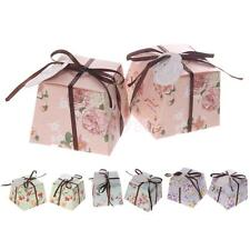 50pcs Romantic Floral Print Trapezoid Wedding Prom Candy Gift Boxes Ribbons Tags