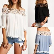 Women Lace Off Shoulder Sexy Tops Casual Short Sleeve Blouse Fashion T-Shirt Hot